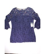 Ralph Lauren Size 16 Navy Blue Bell Sleeve Lined Lace Cocktail Party Dress - $139.96