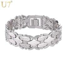U7 Big Bracelets Bangles Silver/Gold Color Hand Chain Bracelet For Men/W... - $17.20