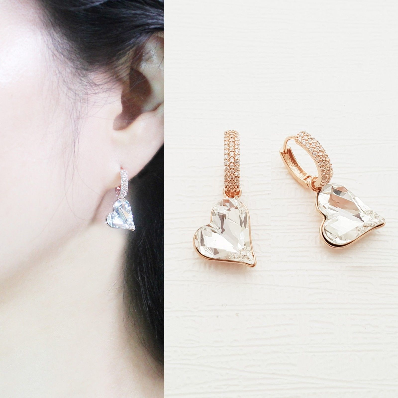 Heart Made With Swarovski Crystal Laverback Dangle Earrings Cubic Zirconia E215