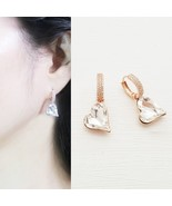 Heart Made With Swarovski Crystal Laverback Dangle Earrings Cubic Zircon... - $36.45