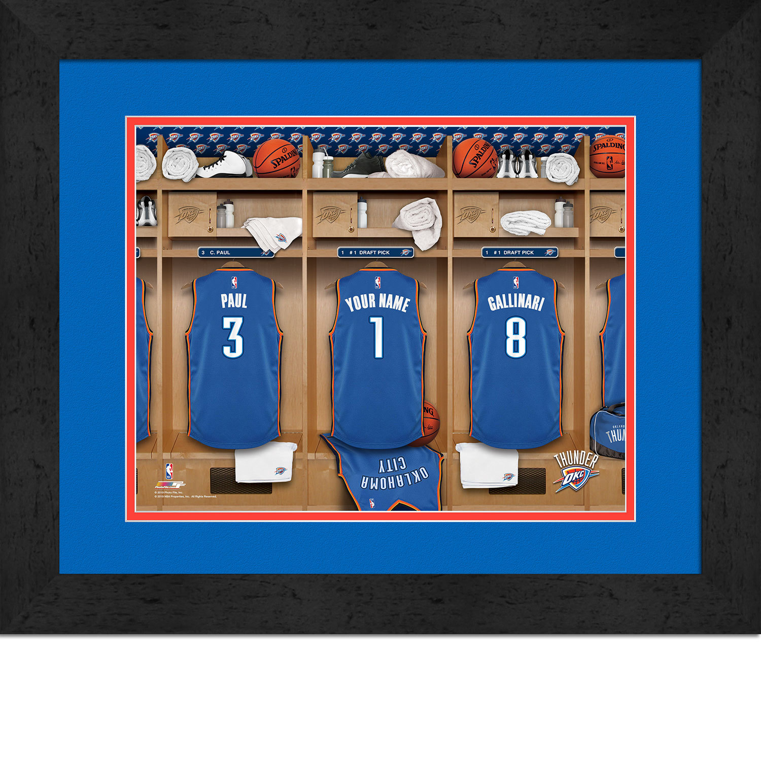 Primary image for Personalized Oklahoma City Thunder 12 x 16 Locker Room Framed Print