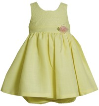 Bonnie Jean Baby Girl 3M-24M Yellow Lace And Linen Sleeveless Dress
