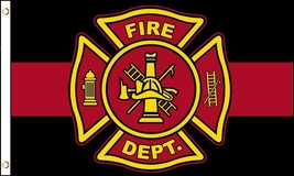BLACK AND RED LINE FIRE DEPARTMENT EMBLEM 3 X 5 FLAG FL760 banner w grom... - $6.27