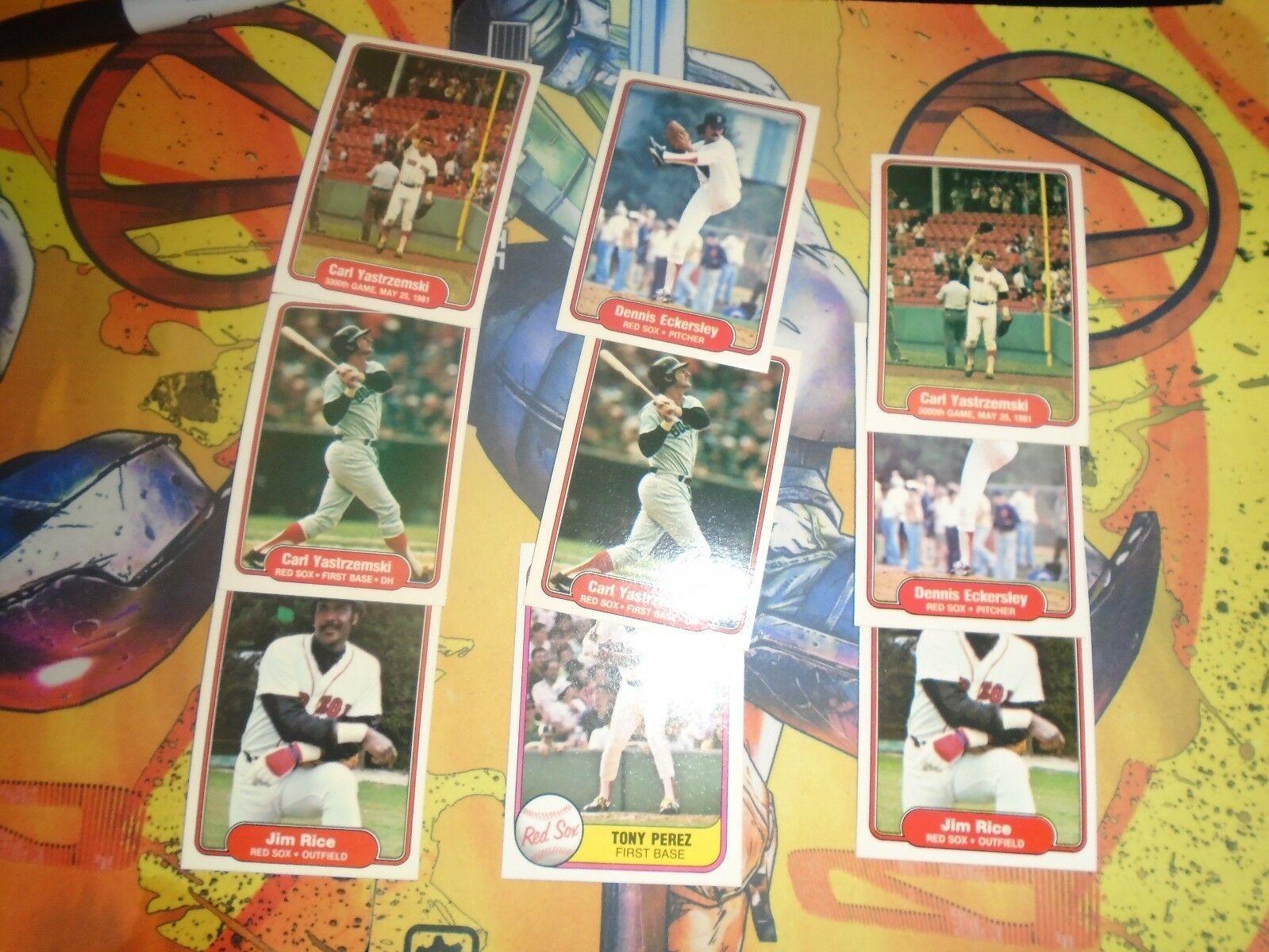 1981 1982 Fleer Red Sox Baseball 9 Card Lot Carl Yaztrzemski + More