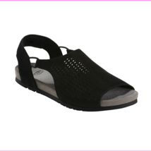 Earth Leather Perforated Sandals - Linden Laveen, Black, 7 M - $38.04