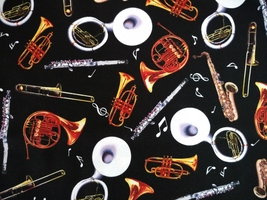 1/2 yard music/instruments/sax/horns/flute on black quilt fabric -free shipping