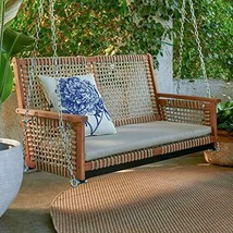 Rustic Cottage Wood & Rope Porch Swing Outdoor Garden Patio Furniture 2 ... - $346.00