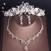 Vintage Gold Crystal Leaf Pearl Rhinestone Wedding Jewelry Set - $12.99+