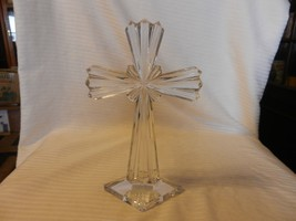 Clear Crystal Standing Shining Cross 24% Lead Crystal from Slovenia 10.5... - $148.49