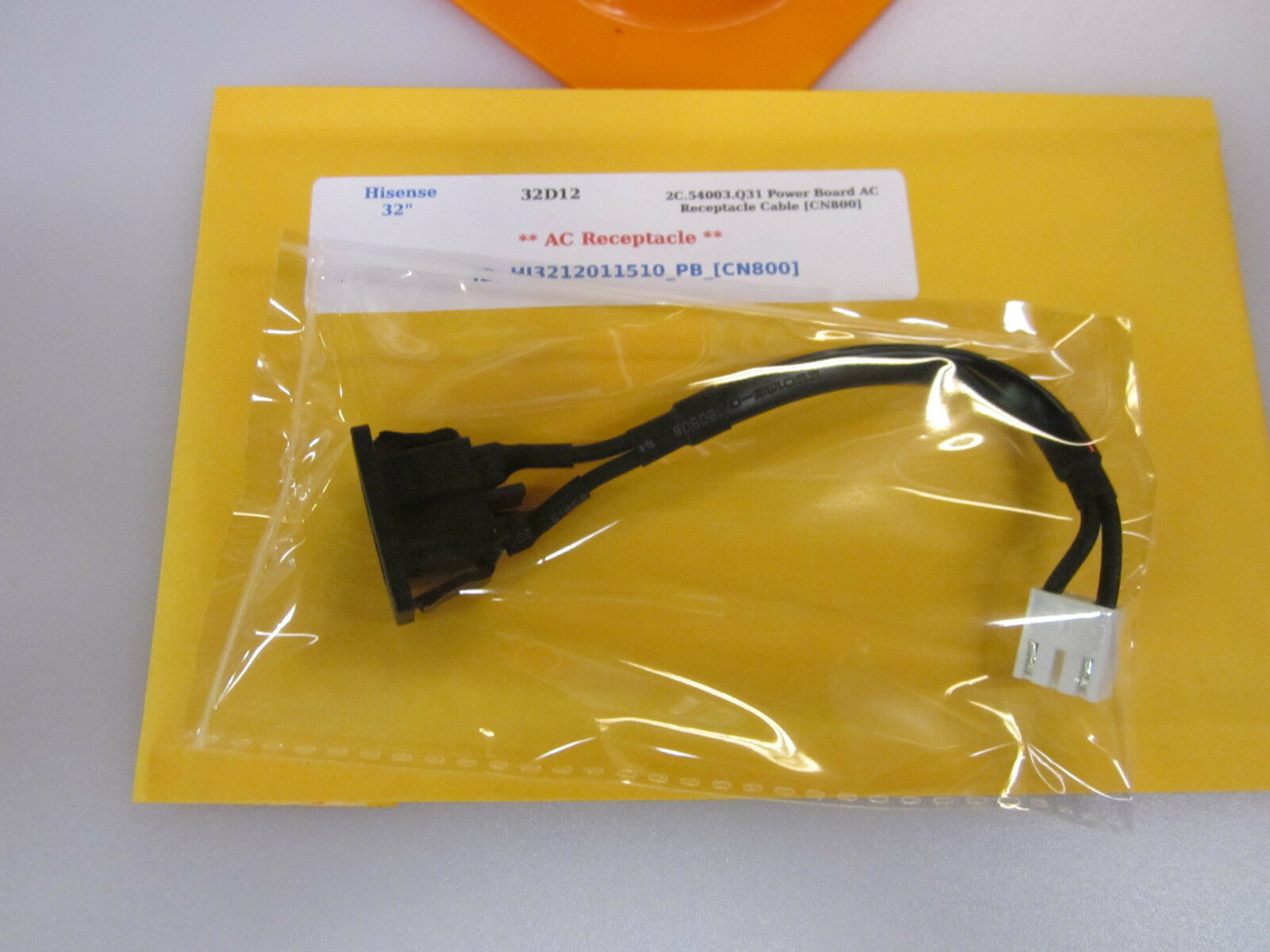 "Primary image for Hisense 32"" 32D12 2C.54003.Q31 Power Board AC Receptacle Cable [CN800]"
