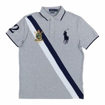 aa5a02c15471c6 Polo Ralph Lauren Mens Big Pony Custom Slim Fit Three Button Crest Polo  Grey -  79.95
