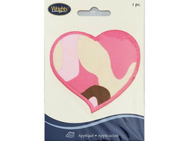 Wrights Iron-On Applique, Pink Camouflage Heart, #1938343001