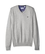 Lacoste Men's Seg 1 Cotton Jersey V-Neck Sweater, Silver Chine, Size 2XL - $89.09