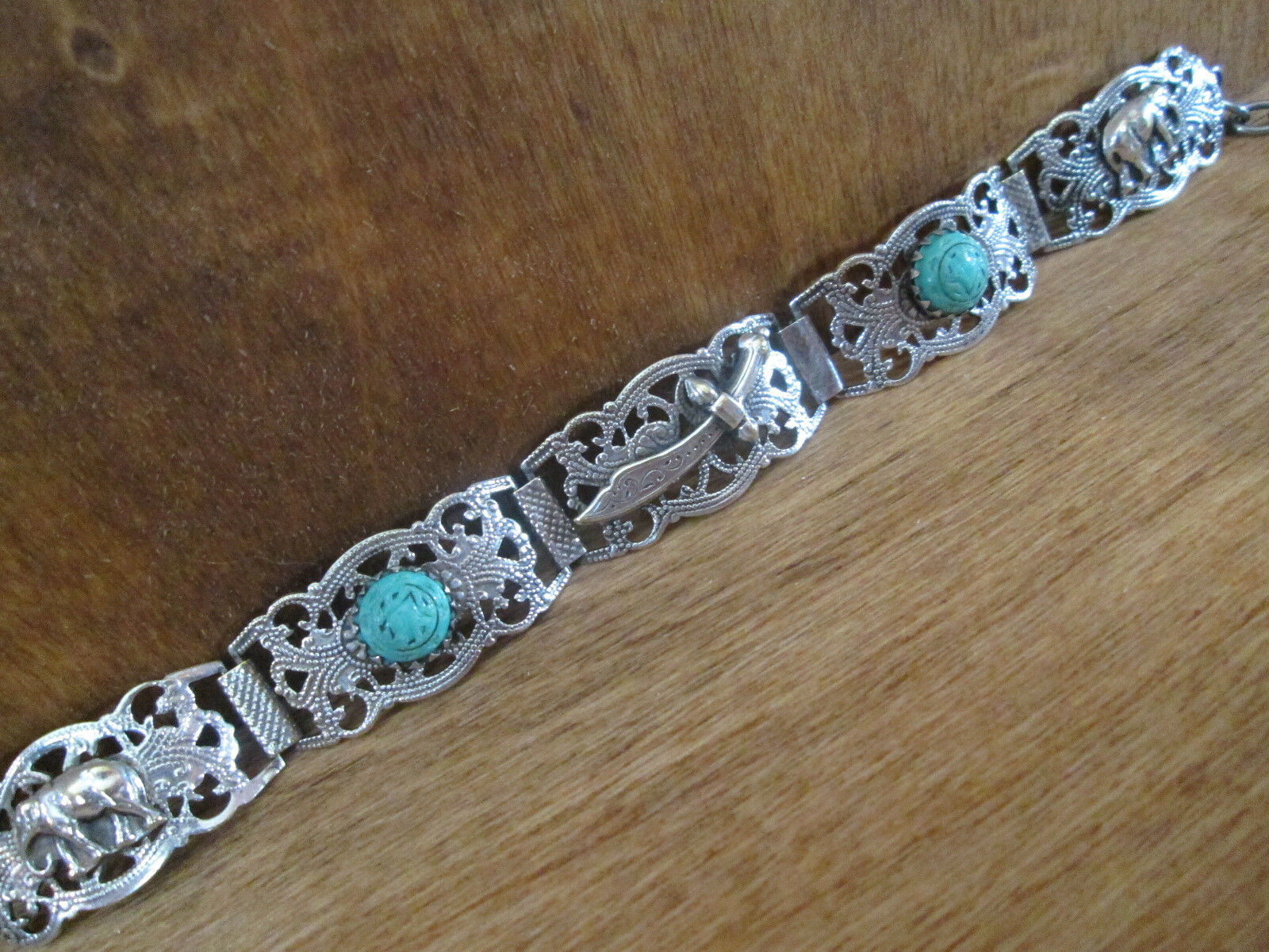 1923 TURKISH Cuff Bracelet, Sterling Silver Pierced Work with Hamsa Charm Clasp
