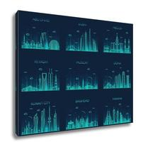 Gallery Wrapped Canvas, Arabian Peninsula Skylines Line Art Style - $162.44+
