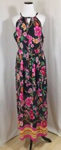 Nicole Miller Studio Floral Maxi Dress Sz 10 Black Fuschia Sleeveless Ha... - $39.59