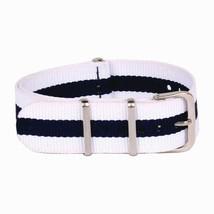 20mm X 255mm Nato Canvas Nylon wrist watch Band strap BLUE WHITE P2 - $10.42