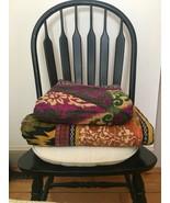 Kantha Quilt Reversible Floral Boho Cotton Bedspread Blanket Upcycled Saris - $69.29