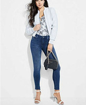 GUESS Melissa Faux-Leather Quilted Bomber Jacket Cirrus Blue Size S - $64.35