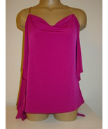 Express Purple Slinky Knit Tunic Top Gold Chain Straps Flowy Sides-XS-NEW - $12.82