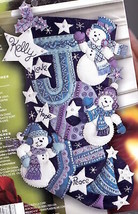 Bucilla Joy Snowmen Snowman Purple Blue White Christmas Felt Stocking Ki... - $174.95