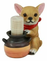 Lifelike Chihuahua Dog With Red Scarf Toothpick Holder Statue With Tooth... - $17.99