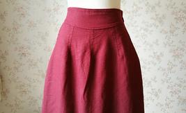 Women Long Linen Skirt Ankle length Linen Cotton Skirt Casual Skirts One Size  image 5