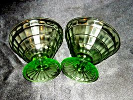 Two Block Optic Green cone Sherbet Glass Depression Glass AA19-CD0031 Vintage image 5