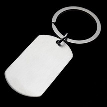 Men's Military Army Matt Silver Stainless Steel Blank Dog Tag Charm Key ... - $12.09