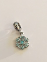 Lovely Silver Tone Aqua CZ Holiday Snowflake Dangle Bead Charm For Bracelet - $14.95