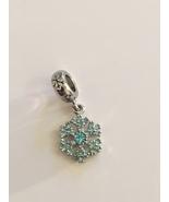 Lovely Silver Tone Aqua CZ Holiday Snowflake Dangle Bead Charm For Bracelet - $14.95
