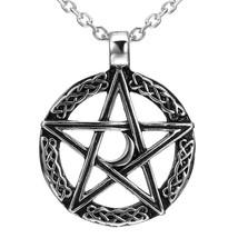 Vintage Style Pentacle Pentagram Crescent Moon Stainless Steel Pendant N... - $44.81