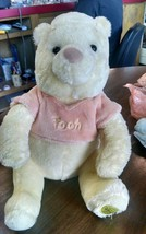Winnie the pooh DISNEY EXCLUSIVE peach shirt Plush bear Doll retired b93 - $11.64