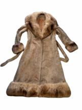 Vintage Women Long Suede Leather Fur Trim Coat Full Length Brown 70s Trench Belt image 3
