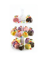 Clear Acrylic Round Scalloped 3-Tier Cupcake Stand Treat Stacked Dessert... - $13.56+