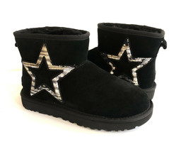Ugg Classic Mini Ii Star Sequin Sparkly Black Boot Us 6 / Eu 37 / Uk 4 - $101.92