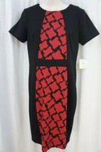Anne Klein Dress Sz 6 Black Red Multi Short Sleeve Business Dinner Work ... - $59.35