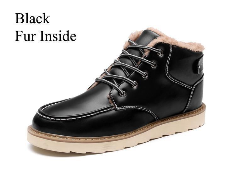 BDF Patent Retro Men Boot Warm Fashion Ankle Snow Boot Casual Winter Fur Shoe