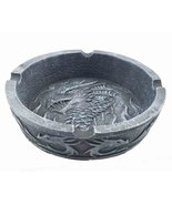 Longwei Spirit Dragon Round Cigarette Ashtray Faux Stone Resin Figurine - $16.82