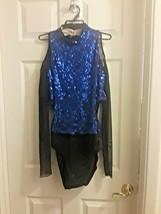 NEW Weissman Dance Costume Adult XXL Black with Blue Sequins + Bonus - $24.10