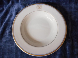 "Vintage US Navy 9"" Flanged Soup Bowl  by Walker China Gold Navy Seal - $26.68"
