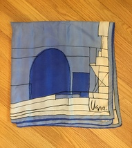 Vintage 60s Vera Neumann square silk scarf (Blue and white architectural) image 2