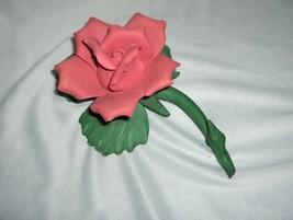 Vintage Capodimonte Coral Pink Rose Ceramic Figurine Italy NICE - $45.00