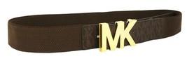 NEW WOMEN'S MICHAEL KORS MK LOGO PREMIUM FAUX LEATHER CANVAS BELT BROWN 551510