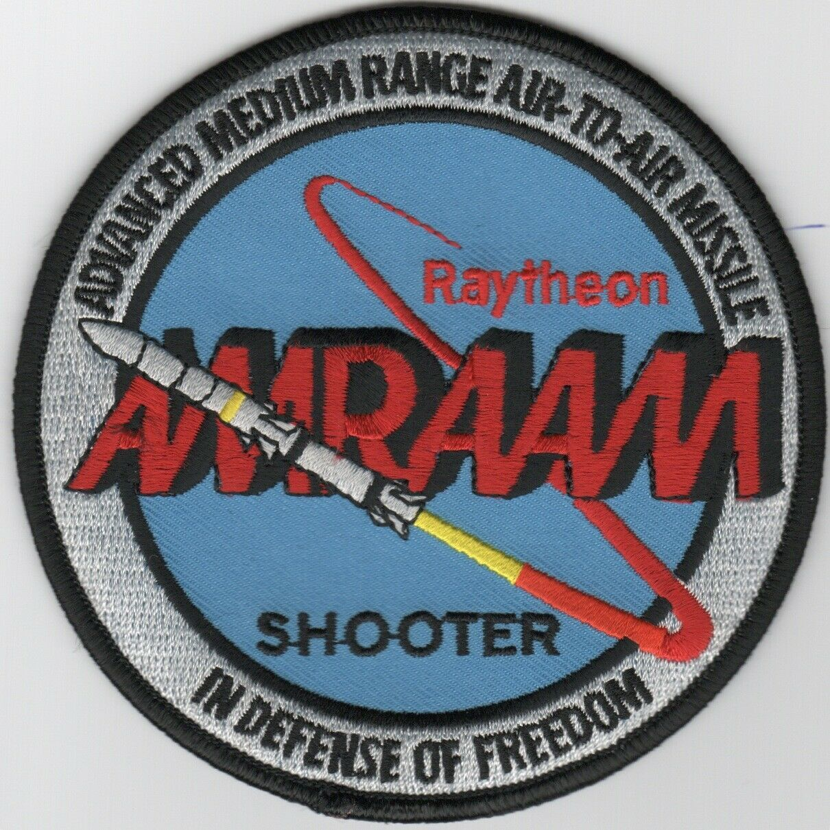 "Primary image for 4"" USAF AIR FORCE AIM-120 AMRAAM SHOOTER RADAR MISSILE RAYTHEON PATCH"