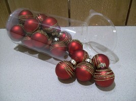 """New Pier 1 Imports Small Red Glass Ornaments with Gold Glitter 1 1/8"""" Se... - $9.90"""