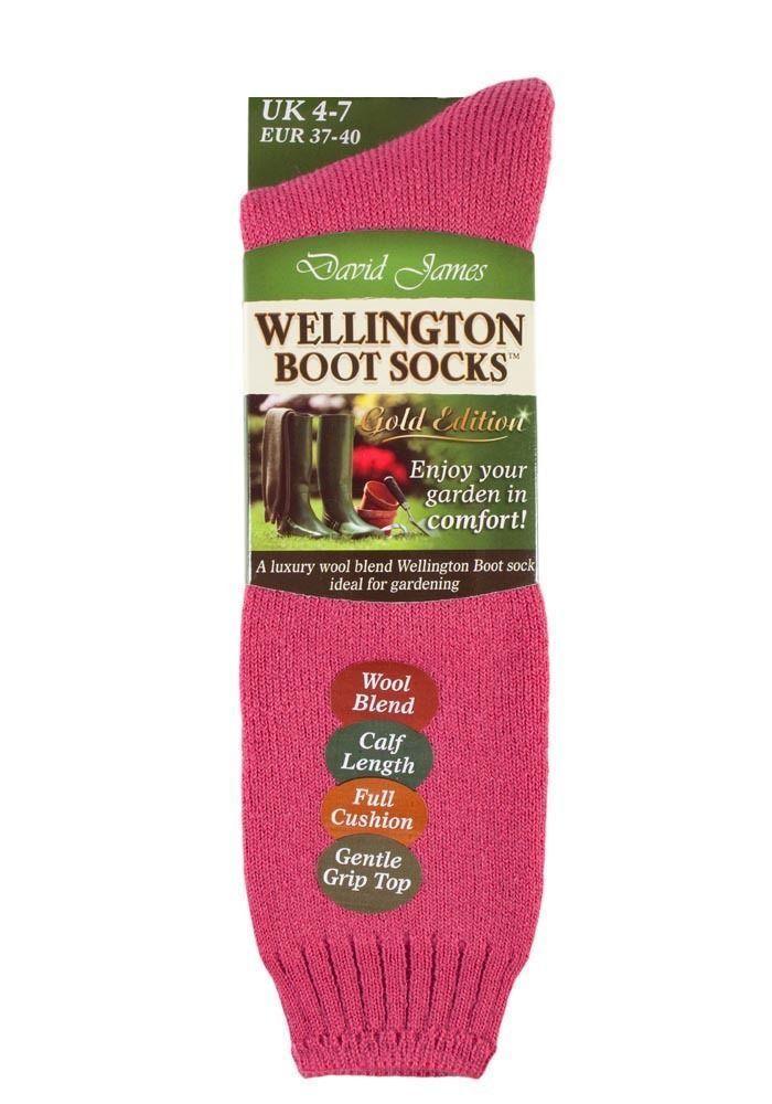 Ladies Outdoor Wool Long Wellington Boot Gardening Socks Size 4-7 Uk Hot Pink