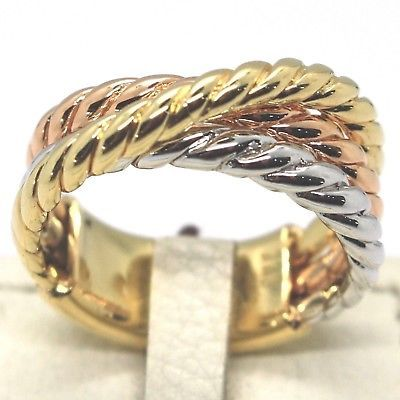 YELLOW GOLD RING WHITE ROSE 750 18K, TRIPLE CABLE, BRAIDED, MADE IN ITALY