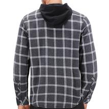 Tony Hawk Men's Casual Flannel Zip Up Plaid Sherpa Hoodie Lightweight Jacket image 6