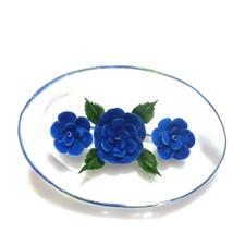 B60 Vintage Acrylic Blue Rose Pin Brooch - $13.32